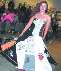 One of Angela Johnson's repurposed t-shirt ball gowns