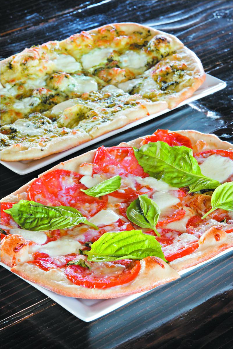 Oven + Vine9-Bianca Flatbread (front), Pesto Mozzarella Flatbread