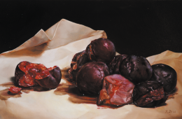 "Rotting Plums, 6"" x 10"", oil on panel"